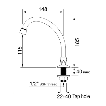 swivel basin spout dimensions