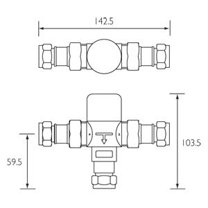 TMV3 mixing valve dimensions