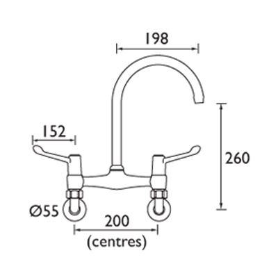 wall mounted bridge mixer tap