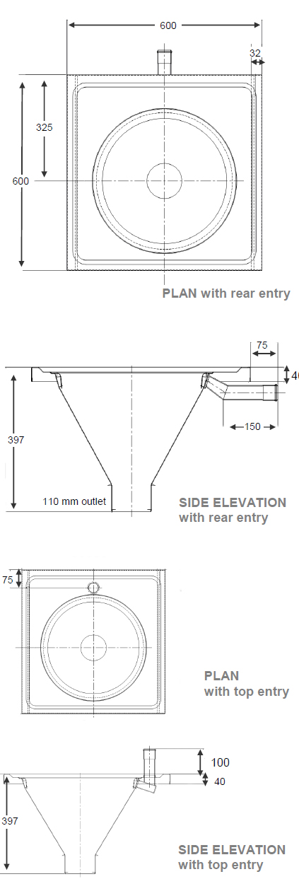wall mounted sluice sink dimensions