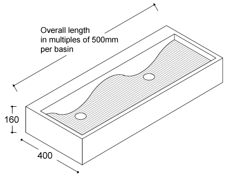 ocean solid surface wash trough dimensions