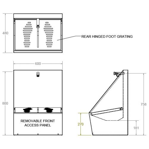 Wudu Foot Wash Trough Single Station Stainless Steel